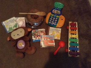 Here are just a few items that can be used to encourage the musical intelligence. Homemade musical instruments (like a pot and wooden spoon) work just as well as purchased instruments.