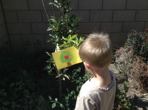 Kona explores words that begin with the short a sound with an outdoor scavenger hunt. Pictures help him in his search.