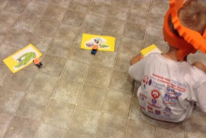"Kona easily matched the ""toy cars"" with the picture cards I made."