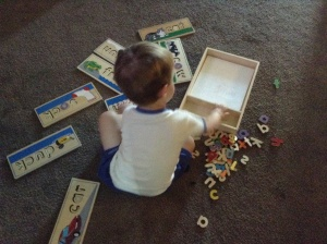 "All the boys love these word puzzles. Tahoe loves to find all the ""o"" letters and place them in the puzzles, while these puzzles help Tigger with his blending skills."