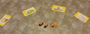 I utilized the grands' love of toy cars to make this matching game.
