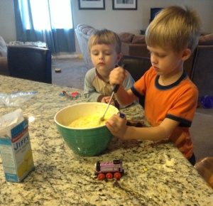 My grandsons love to cook with me.