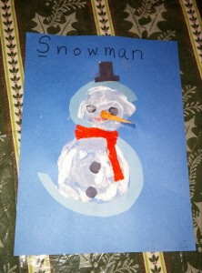Both Tahoe and Kona enjoyed making this snowman with the letter S.