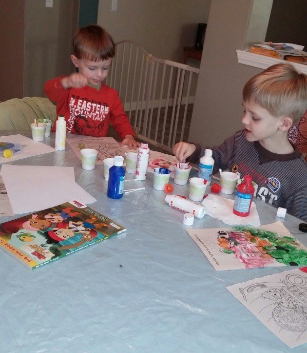 Tahoe and Kona loved painting with Q-tips as one of the activities in the Letter Q Study Unit.