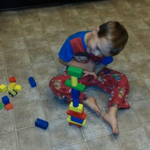 Tahoe decided to construct a tower with the blocks.