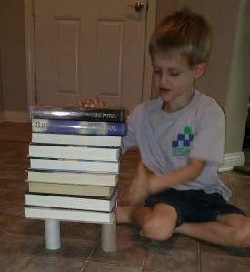 First Kona used two toilet paper rolls to see how many large books they would hold.