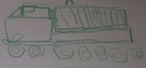 This is Kona's drawing of a dump truck which he drew as we watched a step by step video online.