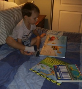 Tahoe enjoys looking over the books I have read to them and retelling the stories to himself.