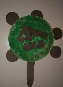 Here is the finished product. (Can you tell the circles are the head and feet?)