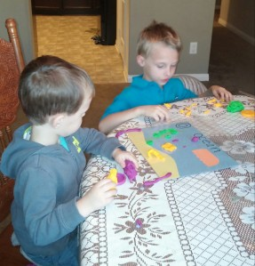 Tahoe and his older brother created all kinds of ocean life with their play dough.