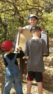 """The grands enjoyed the """"Kid Quizzes"""" on the nature trail we took next to the apple orchard."""