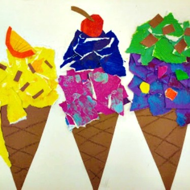 I love this torn paper craft from ARTASTIC! http://artasticartists.blogspot.com/2012/03/we-scream-for-ice-cream-and-cupcakes.html